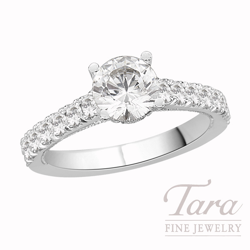 Tacori Diamond Engagement Ring, Platinum, .65 CT TW (Center stone sold separately).