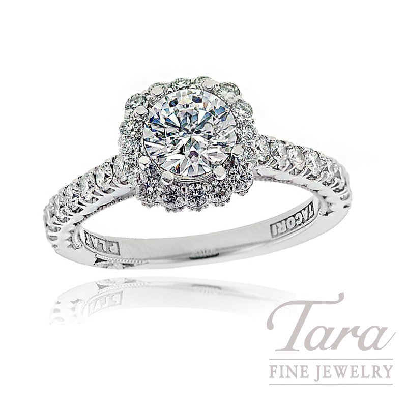 Tacori Diamond Engagement Ring in 18K White Gold,  .74 CT TW (Center Diamond sold separately).
