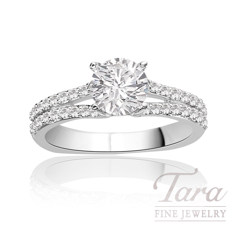 A. Jaffe Diamond Engagement Ring in 18K White Gold, .34 CT TW (Center stone sold separately).
