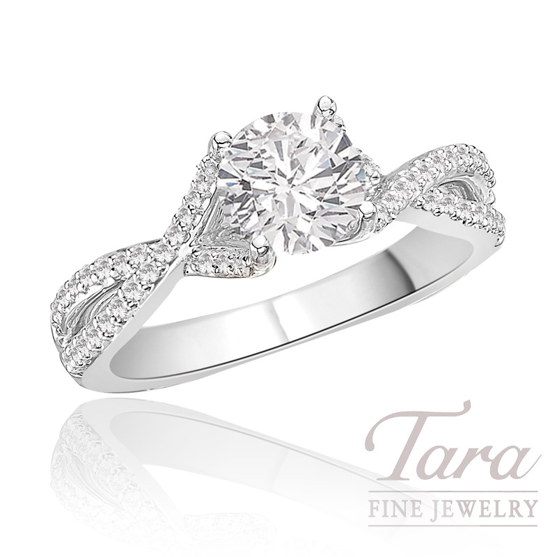 A. Jaffe Diamond Engagement Ring in 18K White Gold, .26 CT TW (Center stone sold separately).