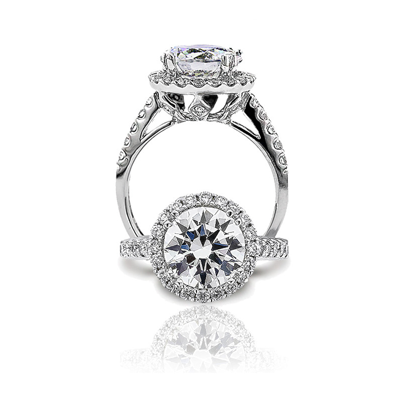 Diamond Engagement Ring in 18K White Gold, .60 CT TW (Center stone sold separately)