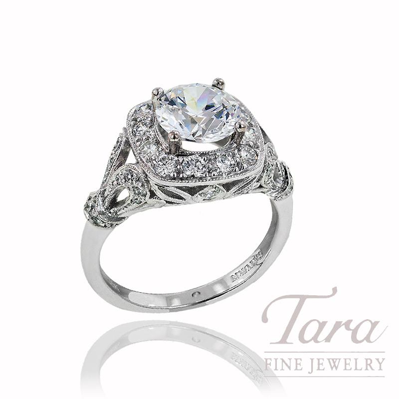 Diamond Wedding Ring in 18K White Gold, .75 TDW (Center diamond sold separately).