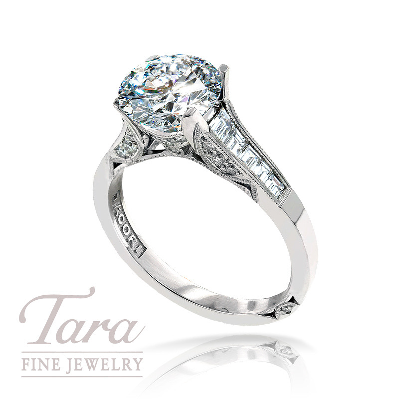 Tacori Diamond Engagement Ring in Platinum, .70 TDW (Center stone sold separately)