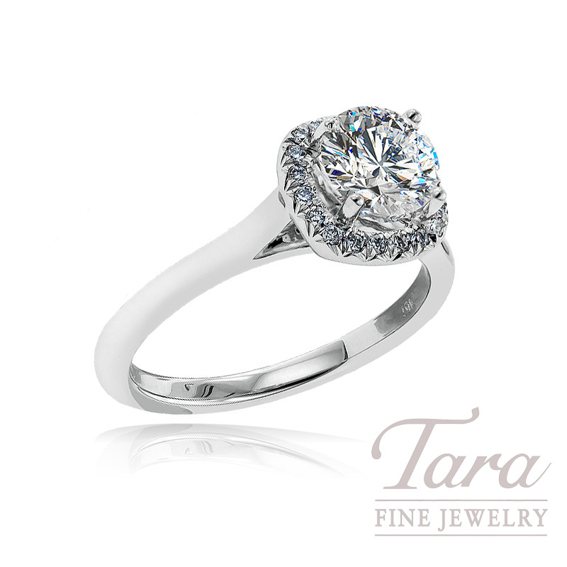 Diamond Engagement Ring in 18K White Gold, .10 TDW (Center stone sold separately)