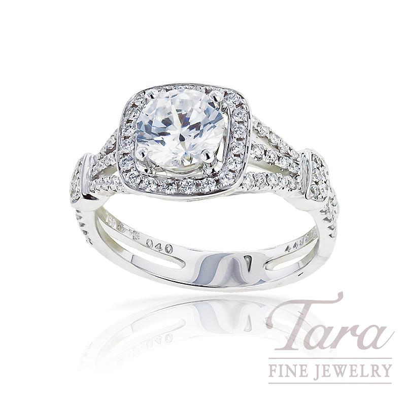 Simon G Diamond Engagement Ring in 18K White Gold, .38TDW, .93CT Center