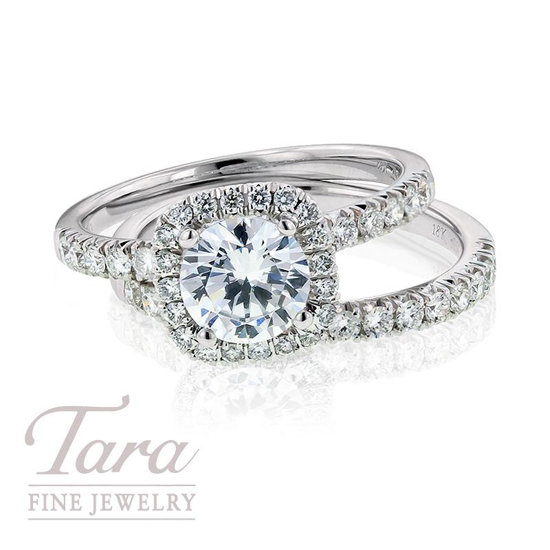 Simon G. Diamond Engagement Ring in 18K White Gold, .44TDW & Diamond Band, .29TDW (Center stone sold separately)