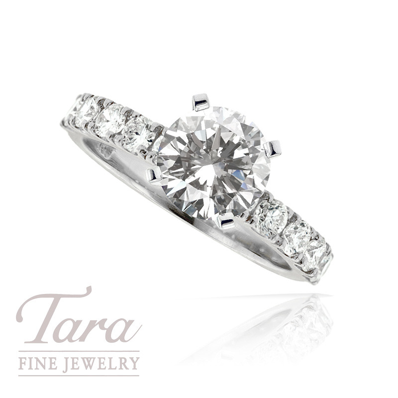Diamond Engagement Ring in 18K White Gold, .88 TDW (Center stone sold separately)