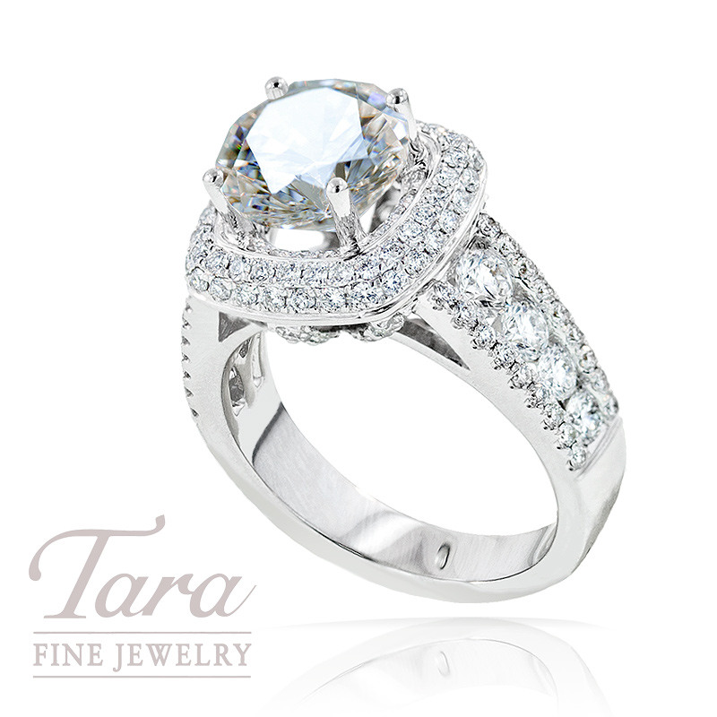 Diamond Wedding Ring in 18K White Gold, 1.35 TDW (Center stone sold separately)