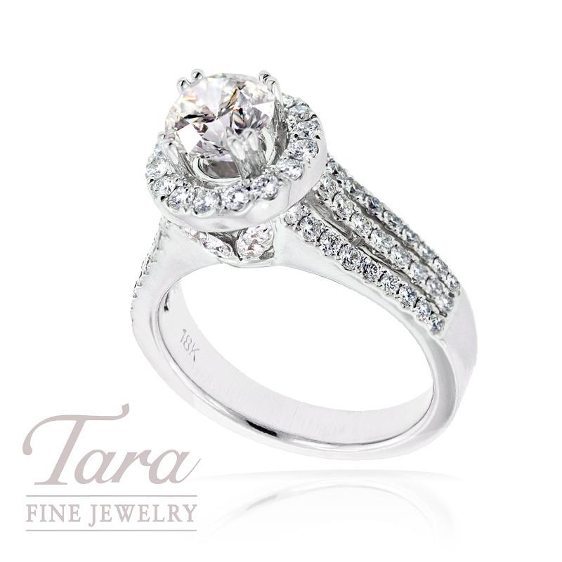 Diamond Wedding Ring in 18K White Gold, 1.04 TDW (Center stone sold separately)