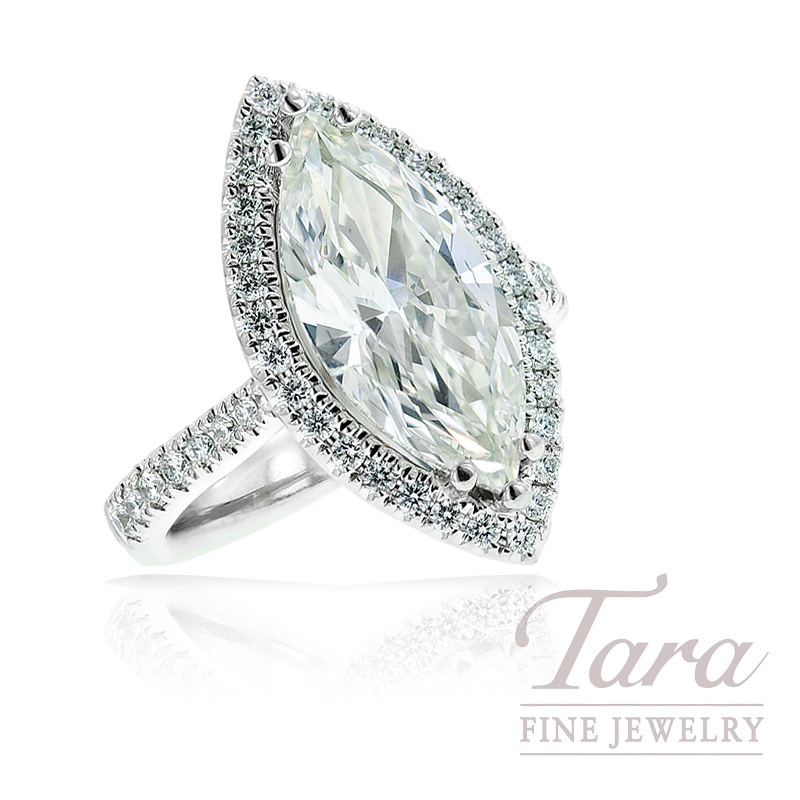 A. Jaffe Diamond Engagement Ring in 18K White Gold,.67TDW Rounds, 3.10CT Center Marquise