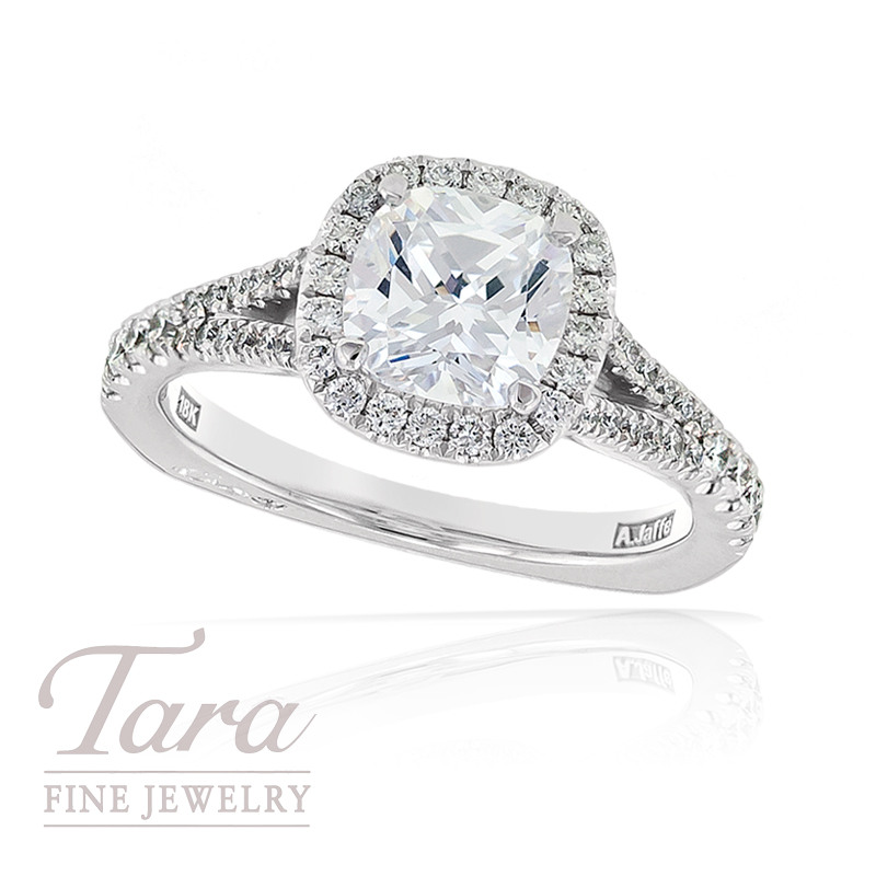 Diamond Wedding Ring by A. Jaffe in 18k White Gold, .41tdw (Center stone sold separately)