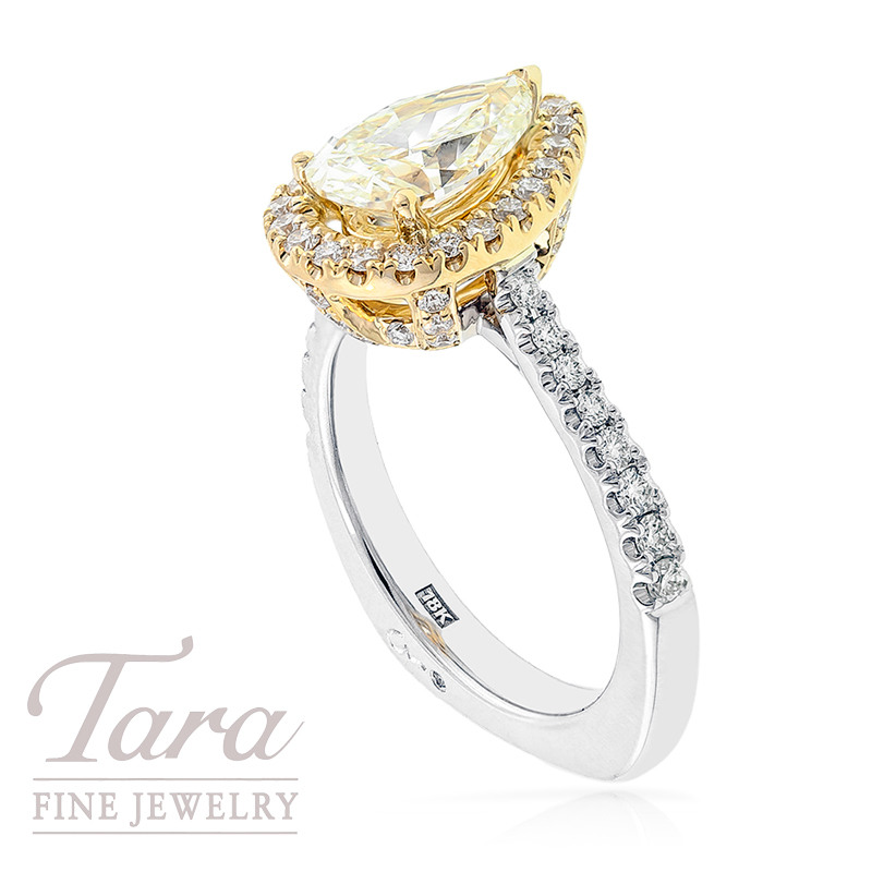 A. Jaffe Natural Fancy Yellow Diamond Engagement Ring in 18k Two Tone Gold, 1.59 CT Center,  .55 TDW Accent Diamonds