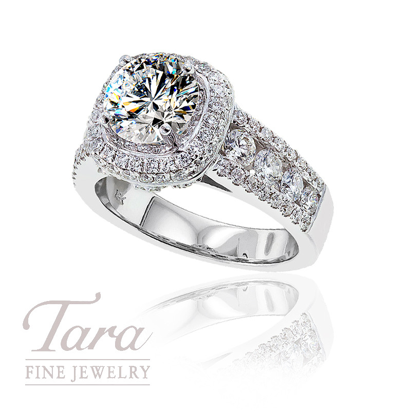 Diamond Wedding Ring in 18K White Gold, 1.42 CT TW (Center stone sold separately)