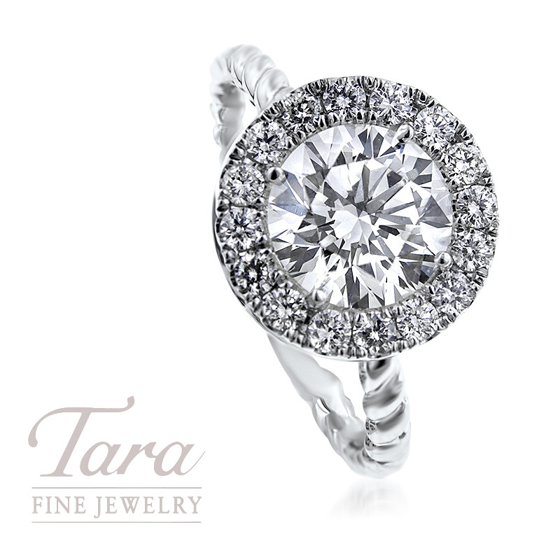 """18K White Gold """"Twisted"""" Ring with 1.52CT Forevermark Center"""