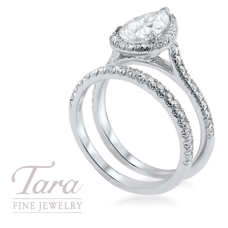 Diamond Wedding Set in 18K White Gold 1.63CT Pear Shape Center, .27TDW Band, .26TDW Ring GIA Certification