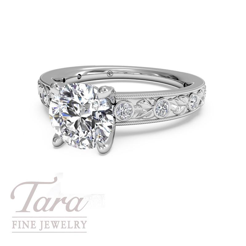 "Ritani ""Roman"" Diamond Engagement Ring in 18K White Gold .14TDW (Center Stone Sold Separately)"