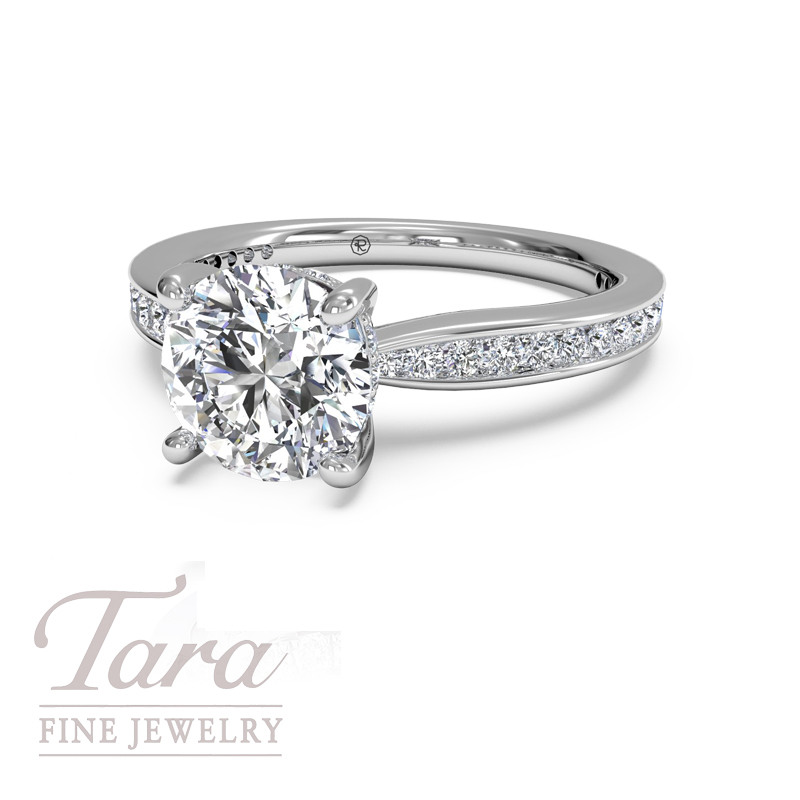 Ritani Classic Diamond Engagement Ring .38TDW in 18K White Gold (center stone sold separately)