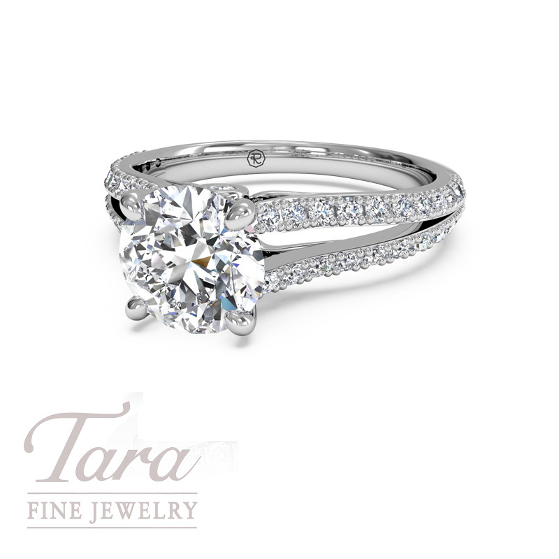 Ritani Diamond Engagement Ring in 18K White Gold .24TDW (Center Stone Sold Separately)