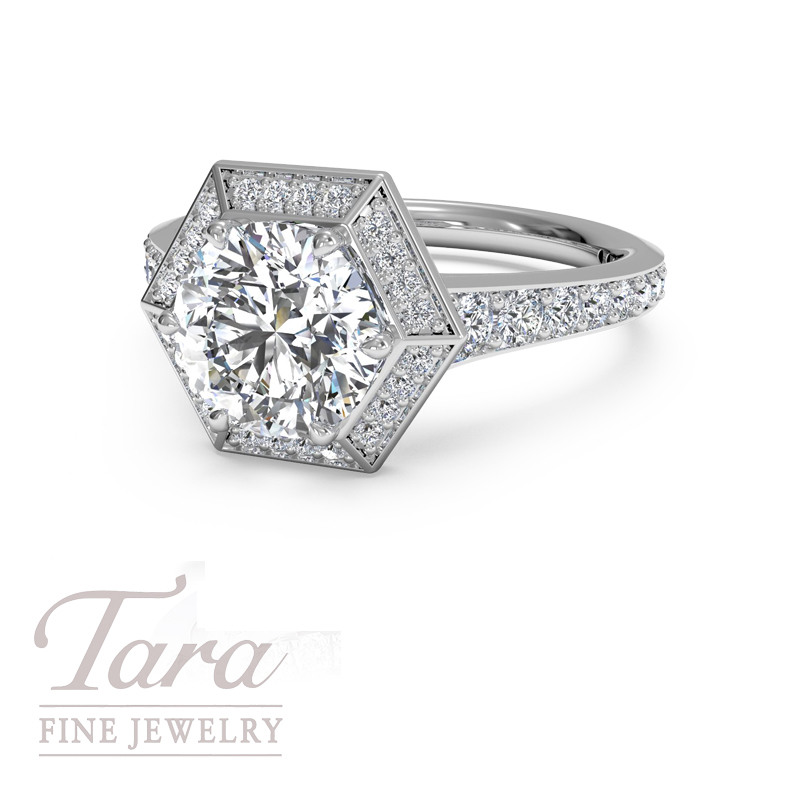 Ritani Timeless Love Diamond Engagement Ring in 18K White Gold .44TDW (Center Stone Sold Separately)
