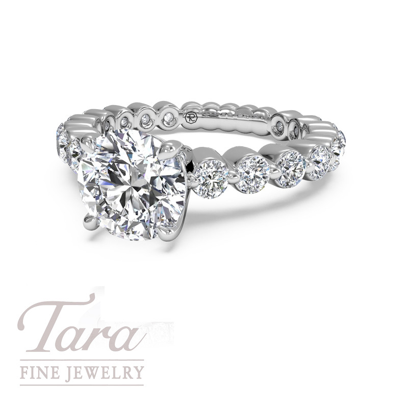 Ritani Classic Diamond Engagement Ring .72TDW in 18K White Gold (Center Stone Sold Separately)