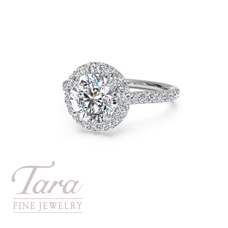 French-Set Halo Diamond Band Engagement Ring in 18K White Gold .44TDW (center stone sold separately)