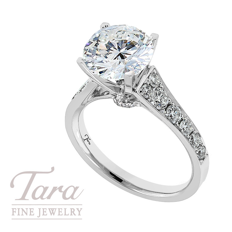 Diamond Engagement Ring in 18k White Gold, .60tdw  (Center stone sold separately)