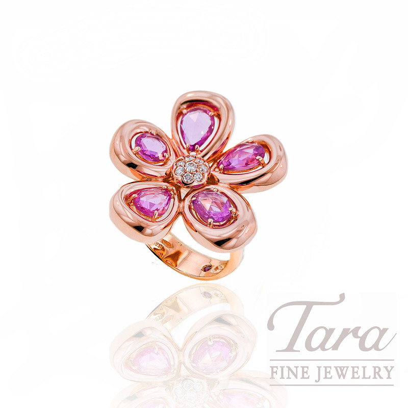 Roberto Coin Pink Sapphire and Diamond Ring, 2.49tdw in 18k Rose Gold