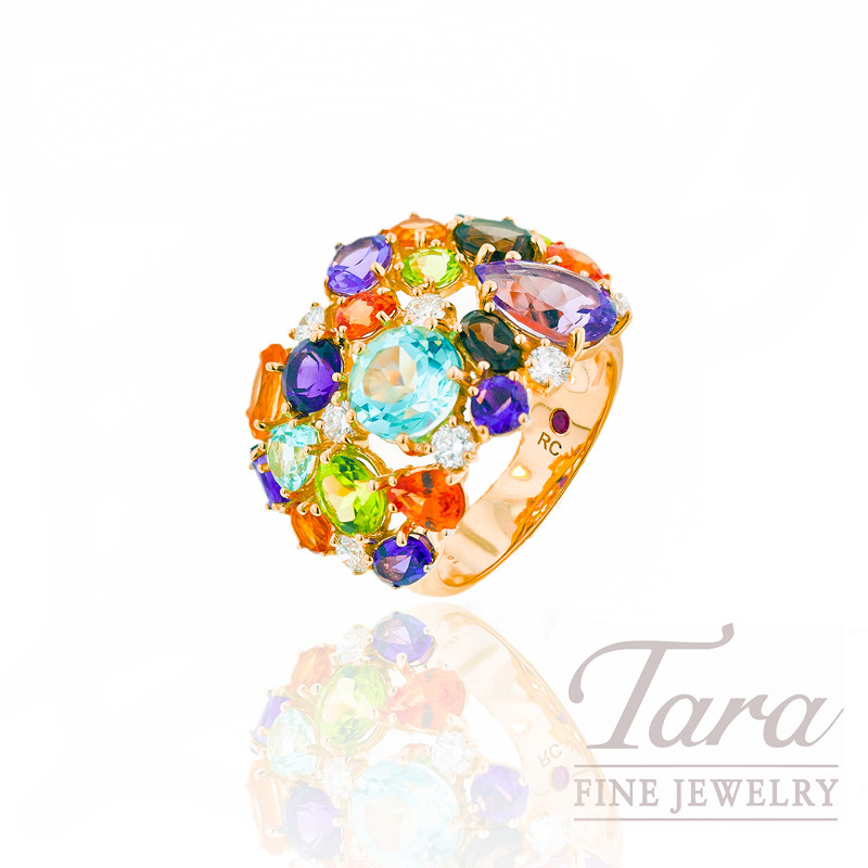 Roberto Coin Gemstone and Diamond Ring, .49 TDW in 18K Yellow Gold