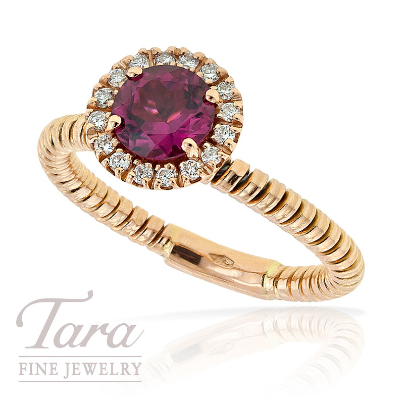 Hulchi Belluni Ring with Diamond and Pink Tourmaline in 18K Rose Gold, .13 TDW