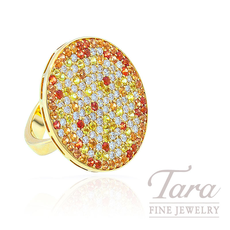 Yellow & Orange Sapphire and Diamond Ring in 18K Yellow Gold, 1.32 TDW