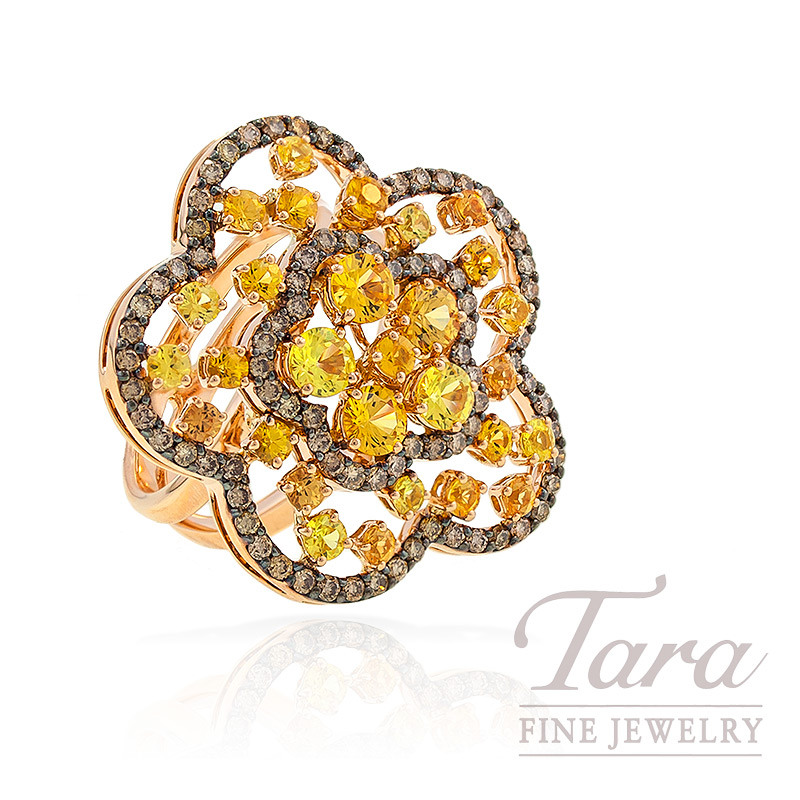 Yellow Sapphire and Espresso Colored Diamond Ring in 18k Rose Gold, .95 TDW