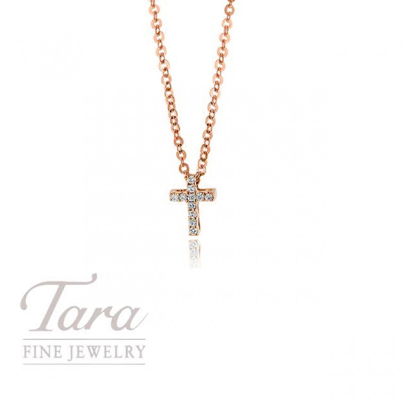 18K Rose Gold Diamond Cross Pendant .03TDW
