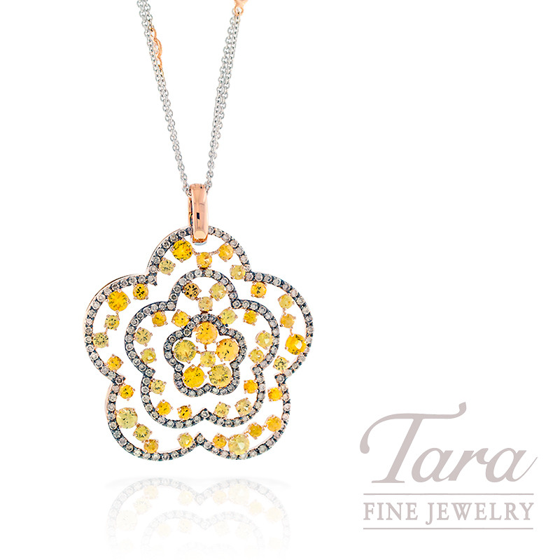 Champagne Diamond & Yellow Sapphire Pendant in 18K Rose Gold, 2.0TDW Diamonds, 6.25TW Yellow Sapphires