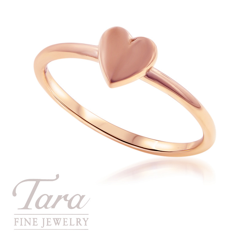18K Rose Yellow or White Gold Heart Stackable Ring