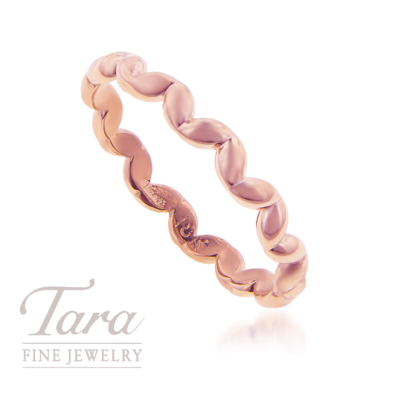 18K Rose Gold Wave Stackable Ring