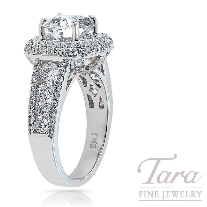 Diamond Engagement Semi Mount in 18K White Gold 1.61 TDW (Center Stone Sold Separately)