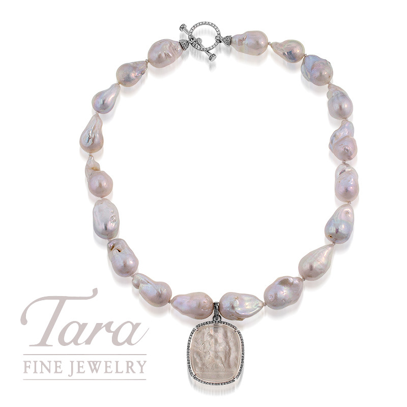 18K White Gold 18 Baroque Fresh Water Pearl Strand .50TDW With Venetian Glass Pendant