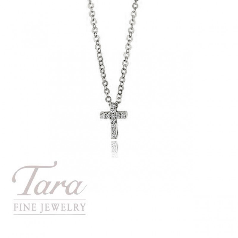 18K White Gold Diamond Cross .03TDW