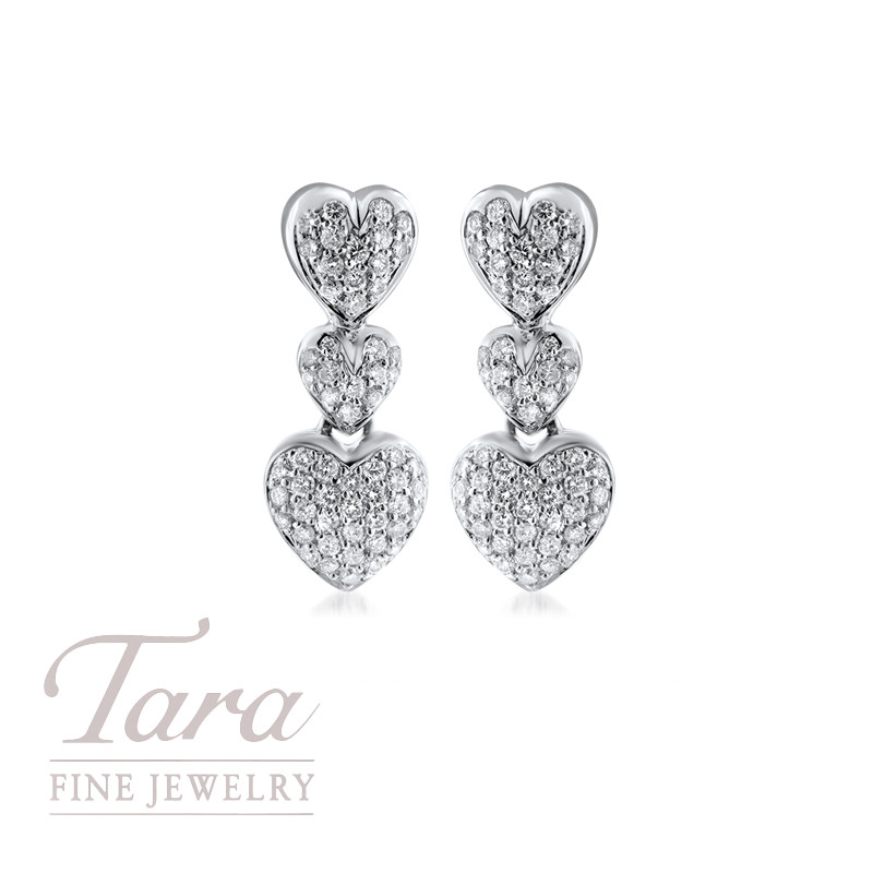 18K White Gold Diamond Heart Earrings 1.16TDW