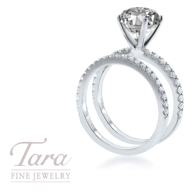 18K White Gold Diamond Wedding Set .30TDW; .25TDW Center Stone Sold Separately