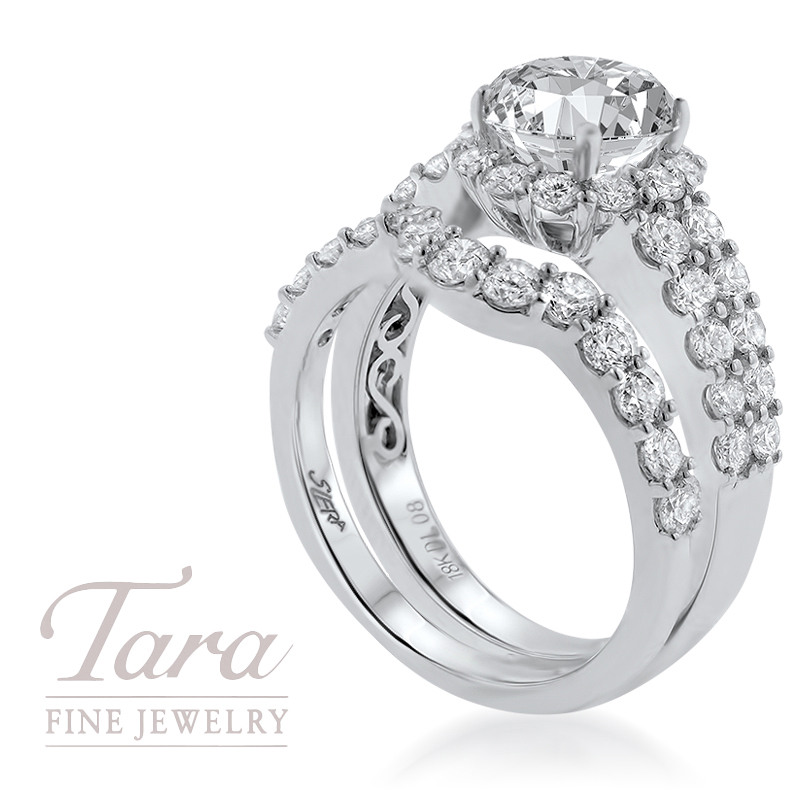 18K White Gold Diamond Wedding Set 1.08TDW; .50TDW (Center Stone Sold Separately)