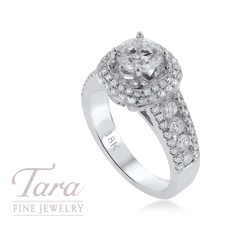 18K White Gold Engagement Ring 1.39TDW (Center Stone Not Included)
