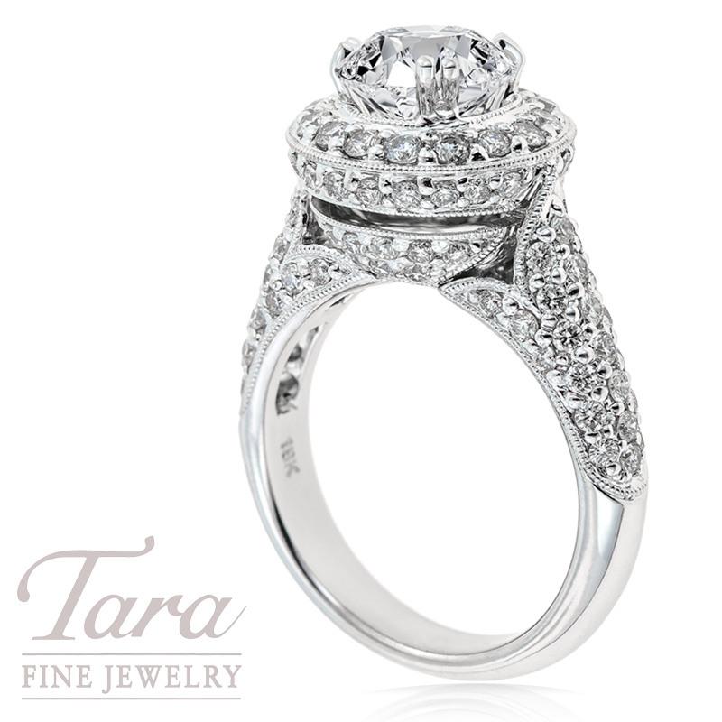 Diamond Engagement Ring 18K White Gold  1.50TDW 104 RD (Center Stone Sold Separately)