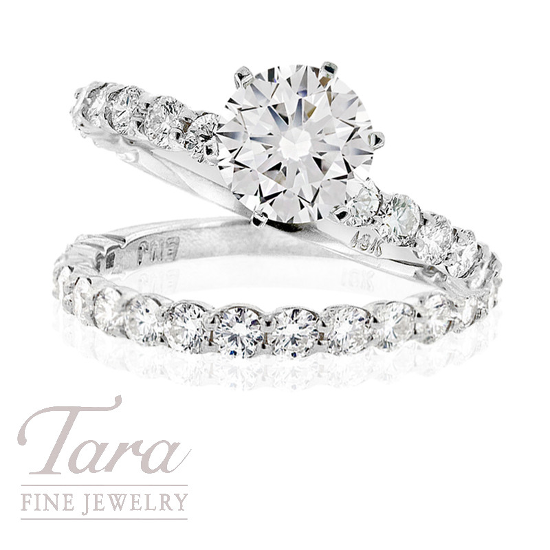 Diamond Engagement Ring and Band in 18K White Gold,  .75TDW; .88TDW