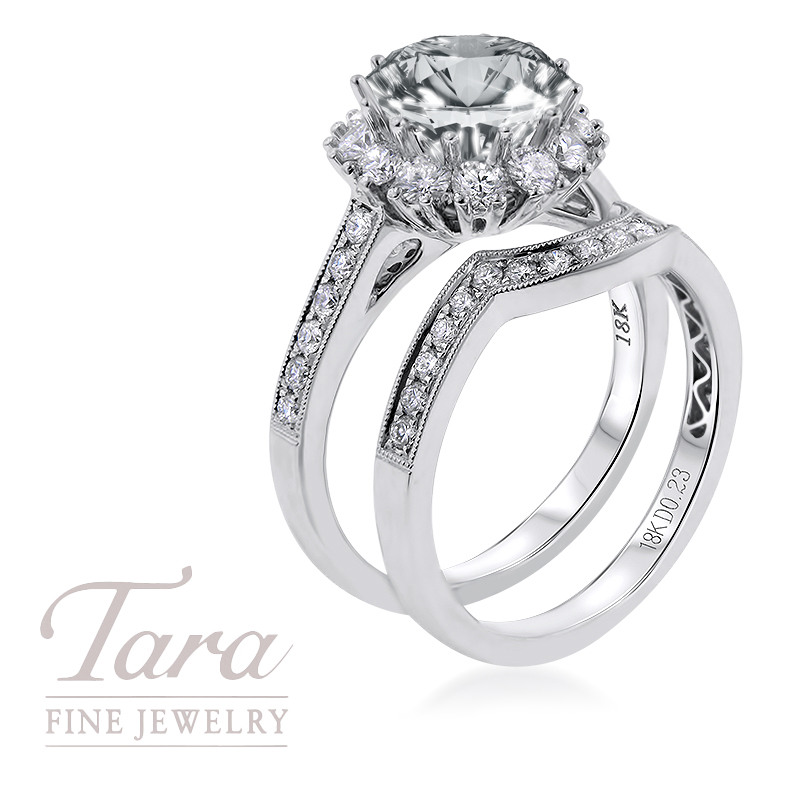 18K White Gold Wedding Set .76TDW, .23TDW (Center Stone Sold Separately)