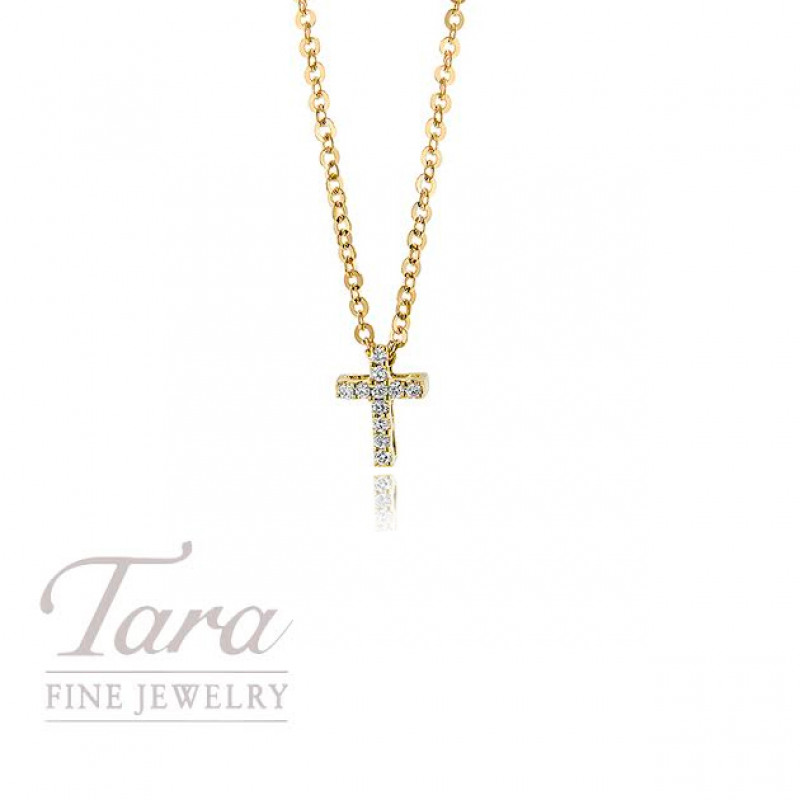 18K Yellow Gold Diamond Cross Pendant .03TDW