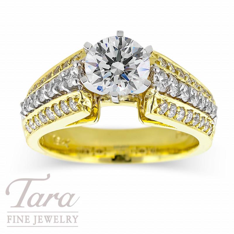 Diamond Wedding Ring in 18K Yellow Gold .85TDW (Center Stone Sold Separately)