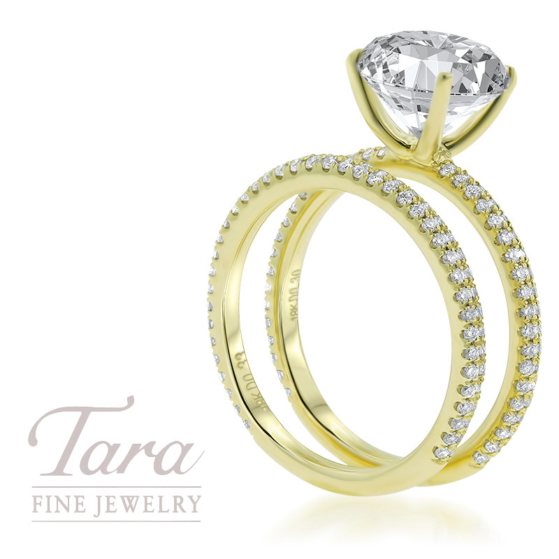 18K Yellow Gold Diamond Wedding Set .30TDW; .33TDW Center Stone Sold Separately