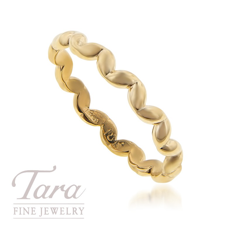 18K Yellow Gold Wave Stackable Ring