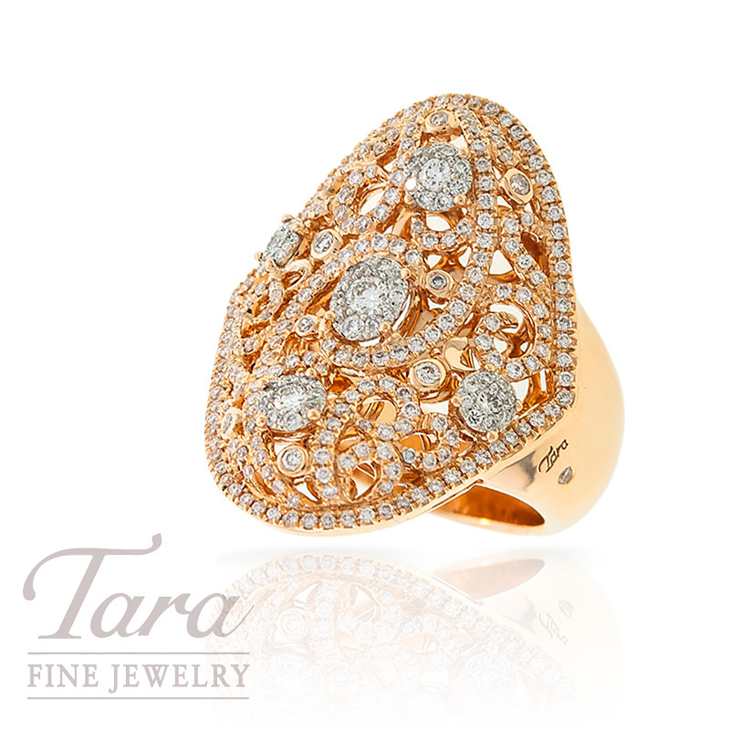 Diamond Ring in 18k Rose Gold, .94tdw